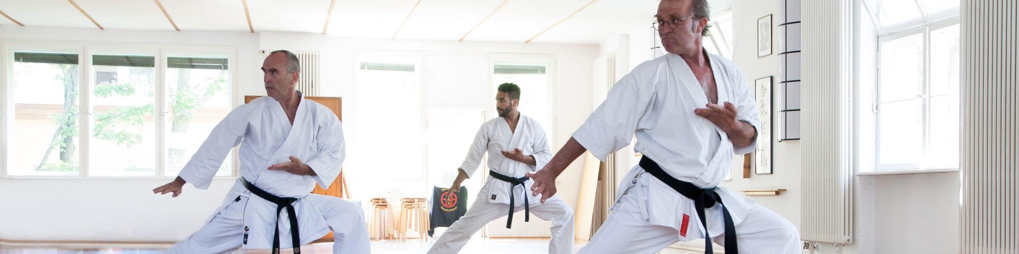 header für gesunfheit und sport - Menschen im Karate-Autzug machen Katas