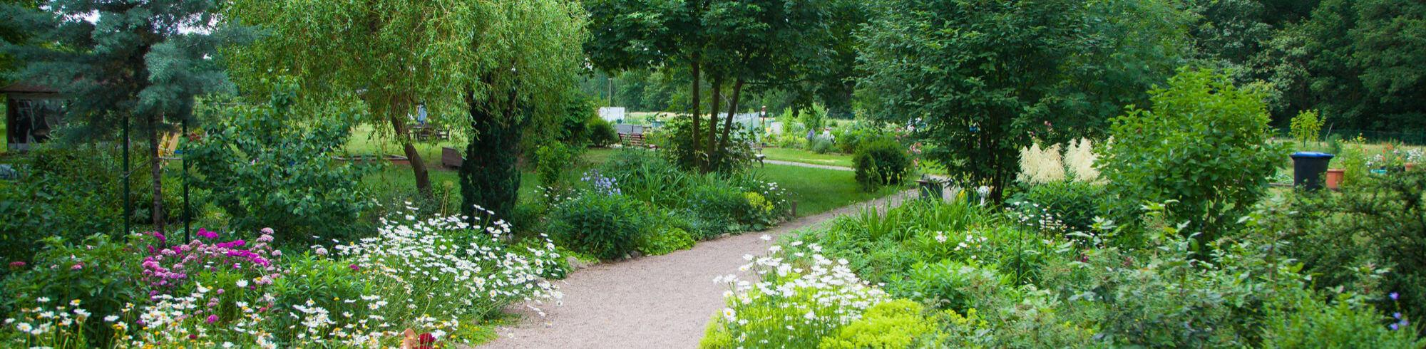 der blohmgarten im breitformat. ein klener Weg schlängelt sich von buntem Grün gesäumt.