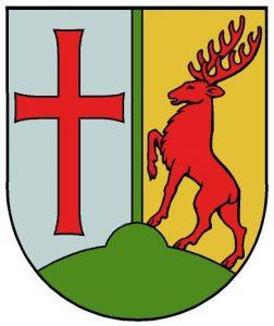 Wappen von Templehof-Schöneberg. Links ein rotes Templerkreuz. echts ein Hirsch in Rot.