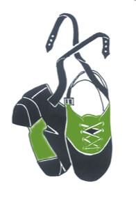 irish step logo. zwei gezeichnete grüne irsiche Stepschuhe