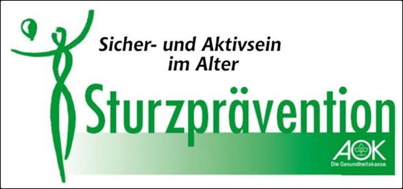 logo der Sturzprävention in grün mit AOK-Zeichen