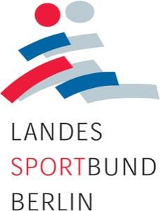 Logo des Landessportbundes. Mehrere Balken stilisieren ein laugfendes Paar. farblich in rot, blau und grau gehalten