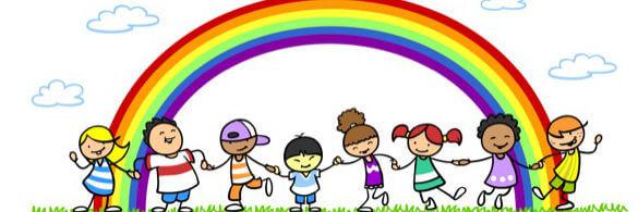 Kinder unter Regenbogen