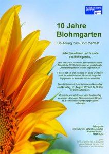 Flyer für das SOmmerffest des Blohmgartens. Eine schöne große Sonneblume ist zu sehen.