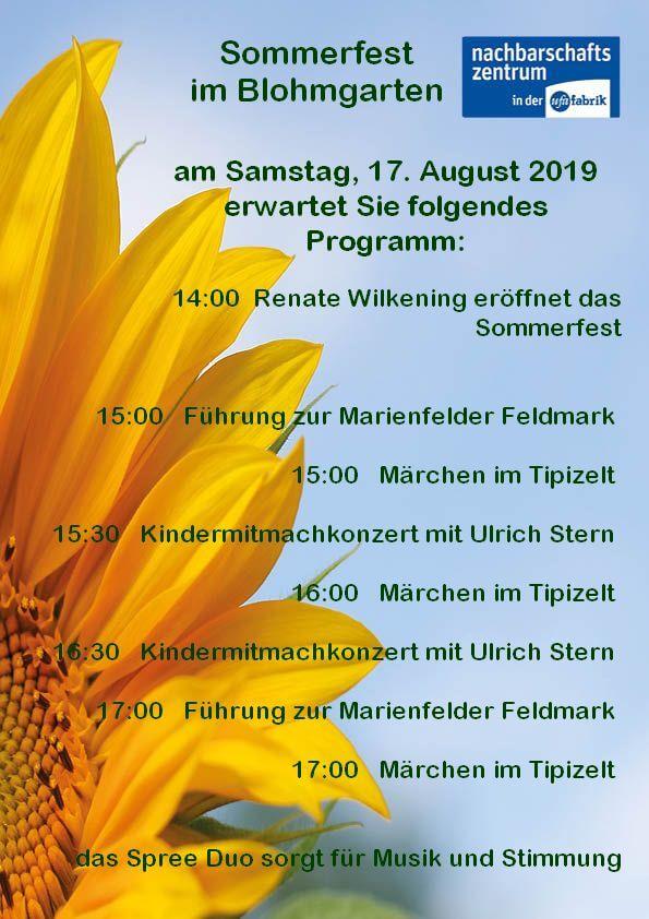 Sommerfestprogramm für das Fest im Blohmgarten