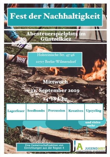 Flyer für das Fest der Nachhaltigkeit auf dem Abenteuerspielplatz