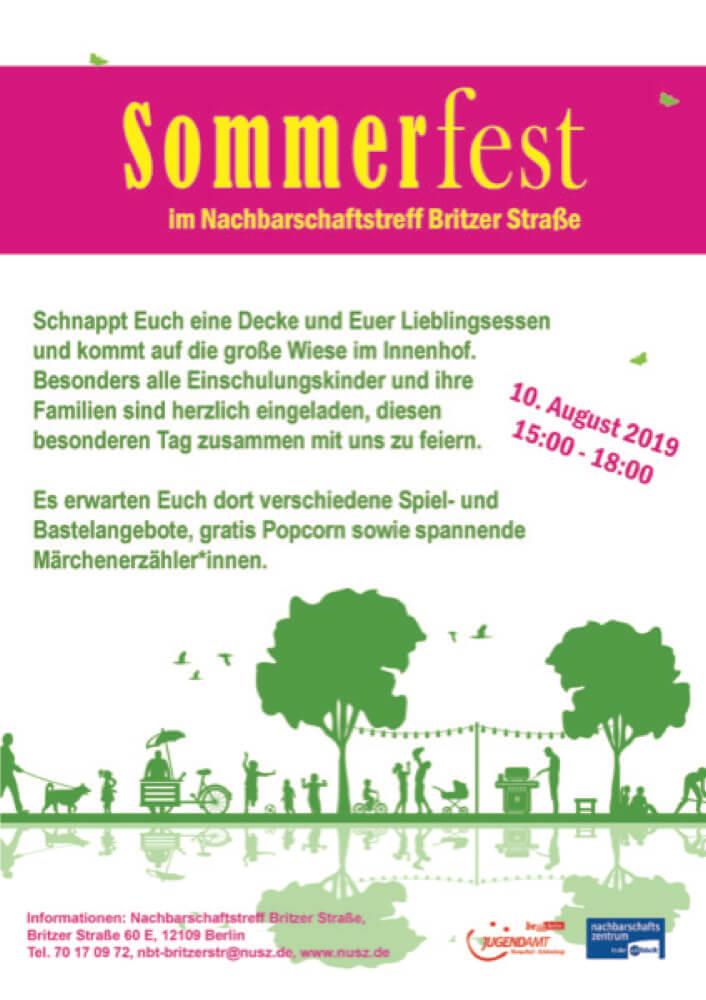 Plakat des Sommerfest im NBT Britzer Straße