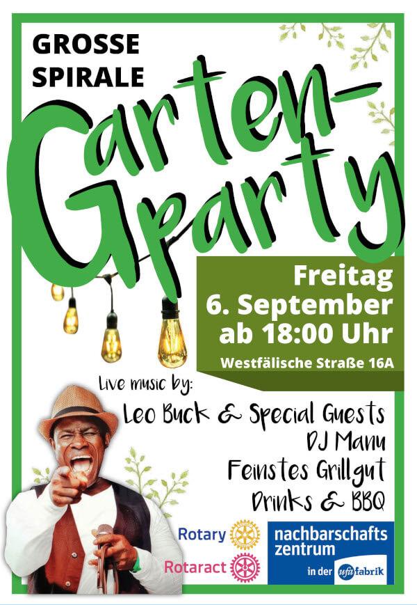 Flyer der Spirale Party. in grün gehalten eine Person lacht mit weitoffenen Mund. Sie zeig tmit dem Finger Richtung Betrachter.