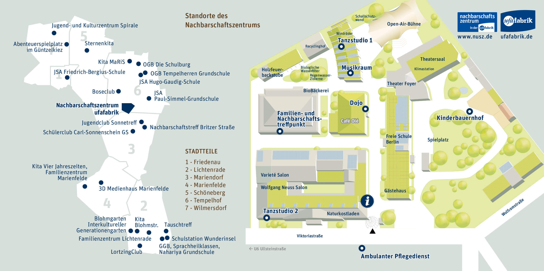 Ein Lageplan aller Standorte des NUSZ