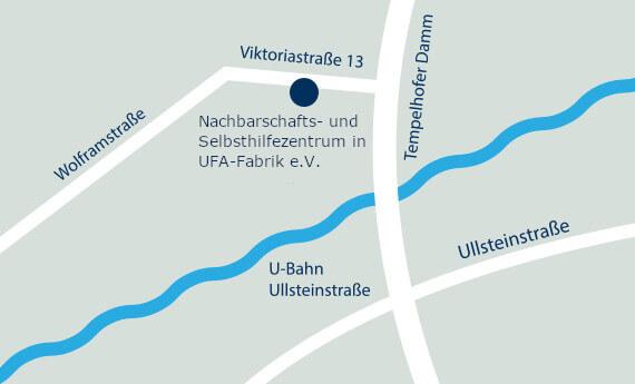 Straßenkarte der Umgebebung des NUSZ